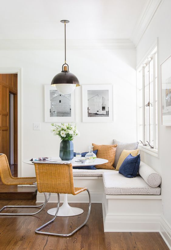 modern vintage banquet seating breakfast nook