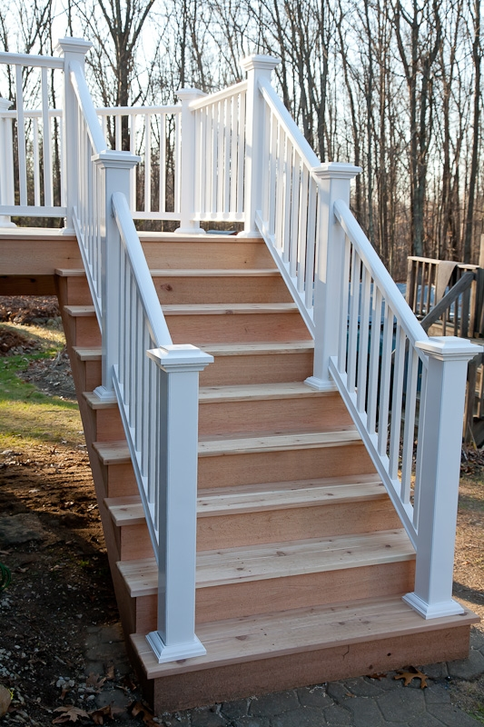 Western Red Cedar Deck Stairs Storrs Mansfield Ct   Outdoor Composite Stair Treads   Stone   Framed   Outside   Ready Made   Blocking