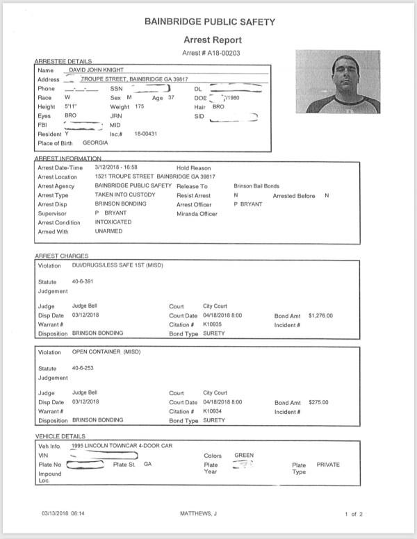 03/13/18 Arrest Reports | BainbridgeGa.com