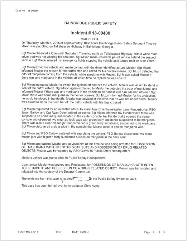 03/09/18 Incident Reports | BainbridgeGa.com