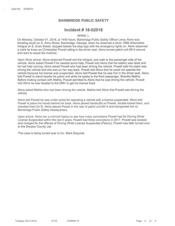 10/02/18 Incident Reports | BainbridgeGa.com