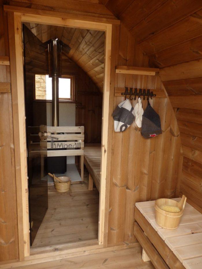 Jardin extérieur sauna en bois Igloo design, Claire, PLOUHINEC, France