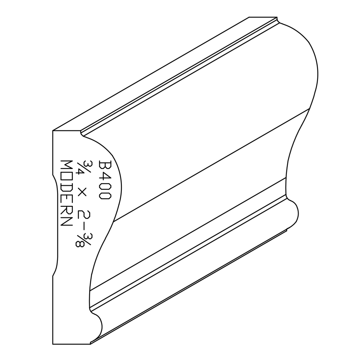 oak chair rail rocking clearance 3 4 quot x 2 8 white modern b400