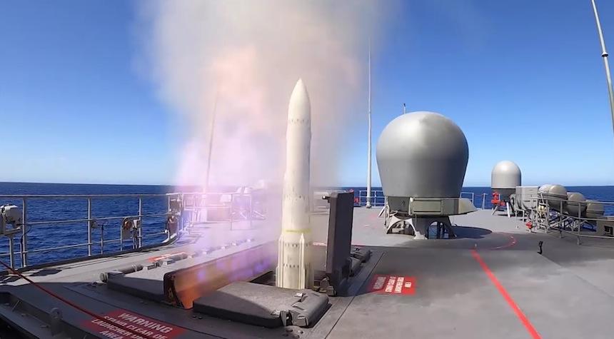 HMAS Arunta fires first ESSM following upgrade