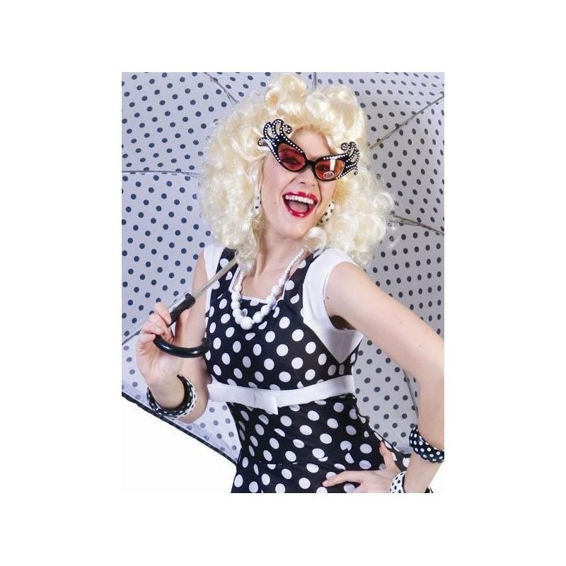 Dguisement Fifties Robe Rockn Roll Noire Pois Femme