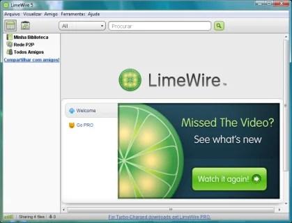 O LimeWire leva você direto para a busca.