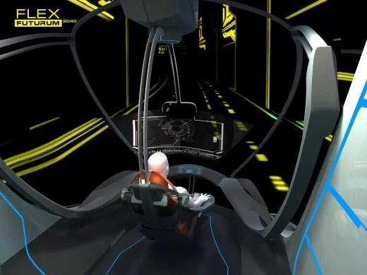 Visual futurista na cabine