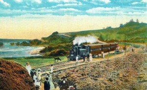 Postcard view of a passenger train at Bathsheba station on the Barbados Railway
