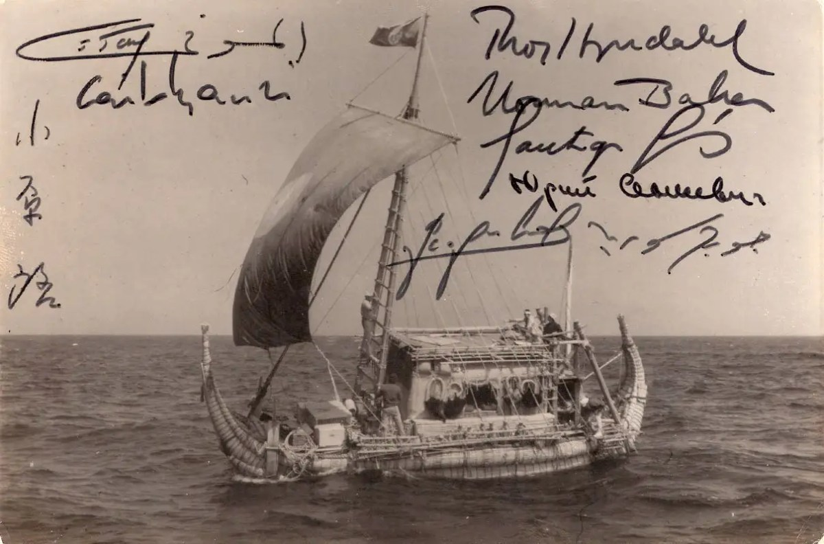 Ra II. The successful crossing. Signed by the 8 crew members.