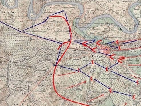 Plano de la Batalla de Caspe 1938