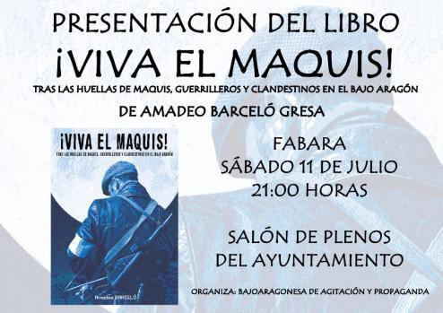 """Presentación del libro """"¡Viva el Maquis!"""" en Fabara"""