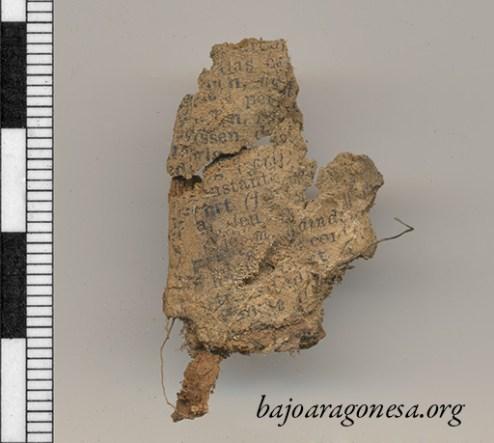 Figura 22. Fragmento de papel impreso sin restaurar.