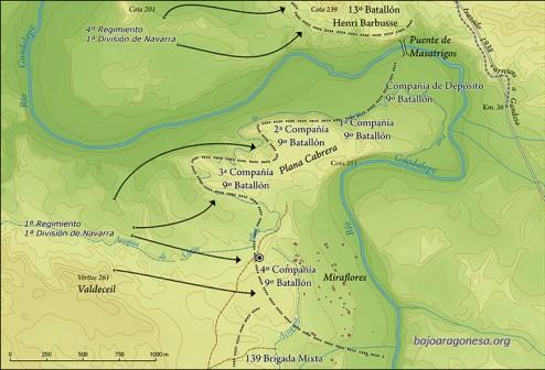 Ofensiva del día 27 de marzo de 1938 de la 1ª División de Navarra. Situación de las líneas de defensa republicanas tras la jornada. El círculo concéntrico indica la situación de la fosa hallada.