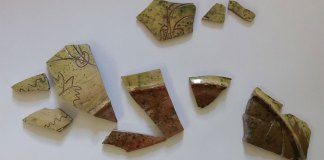 A few fragments of sgraffito pottery were excavated at Thaxted. Image CAT
