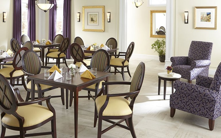 Healthcare facility retirement living dining tables and chairs