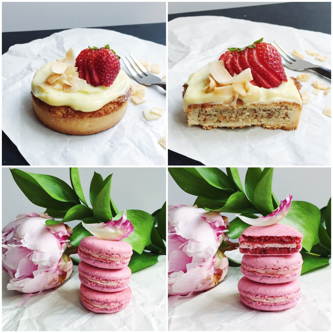 Coconut frangipane tart and strawberry macarons