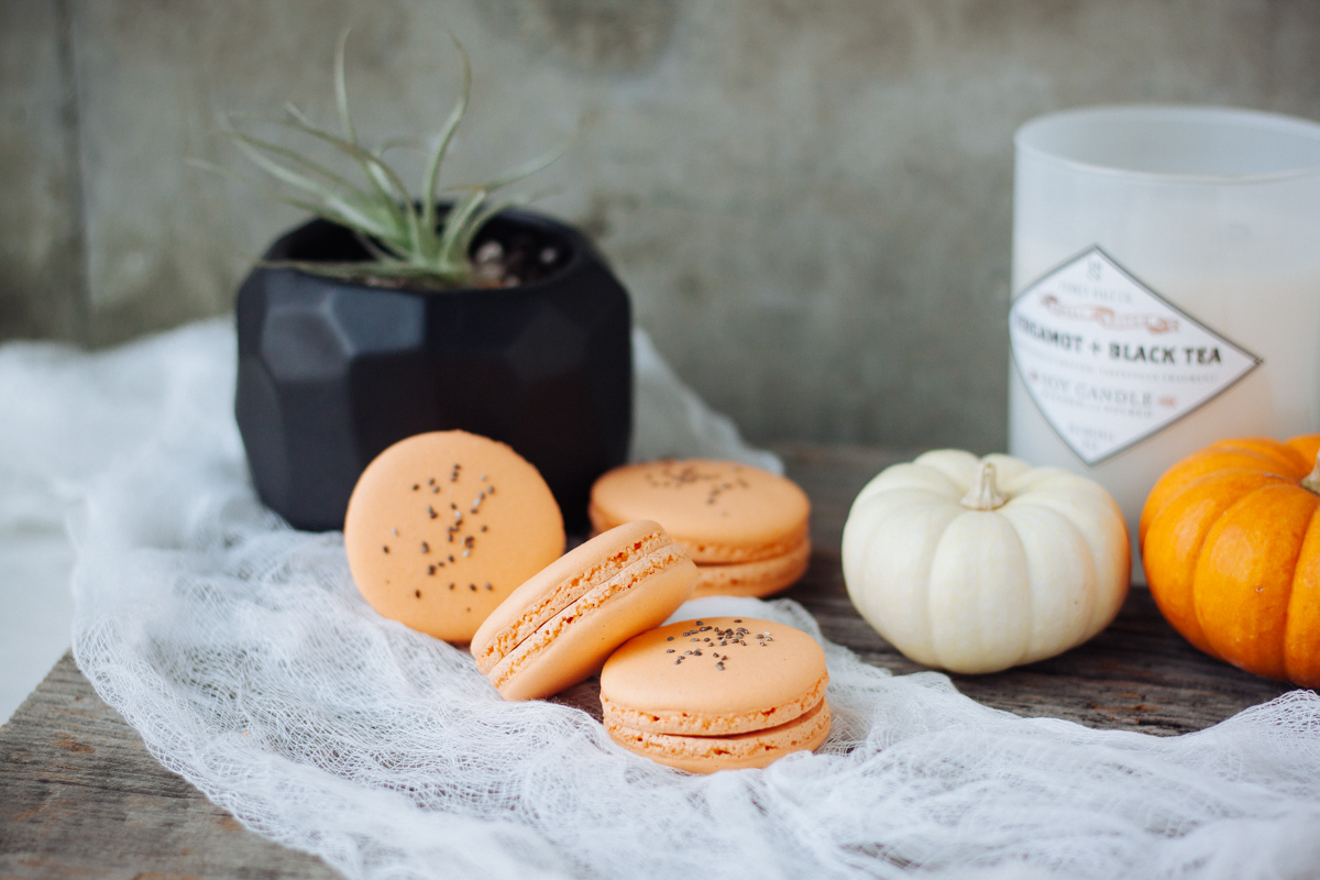 Macarons with pumpkin puree and spices