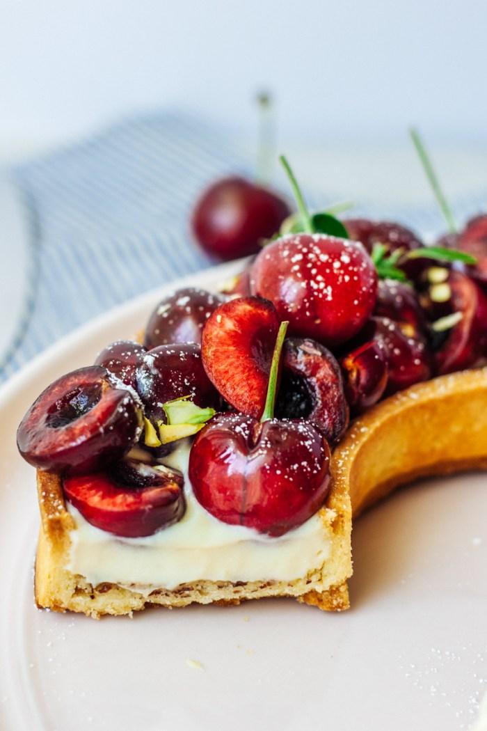Summer tart with cherries and almond cream