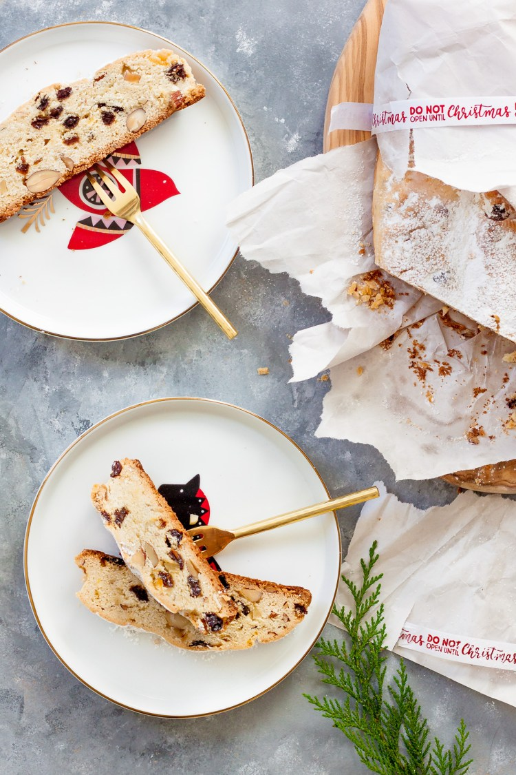 Christmas Stollen with almonds and dried fruits