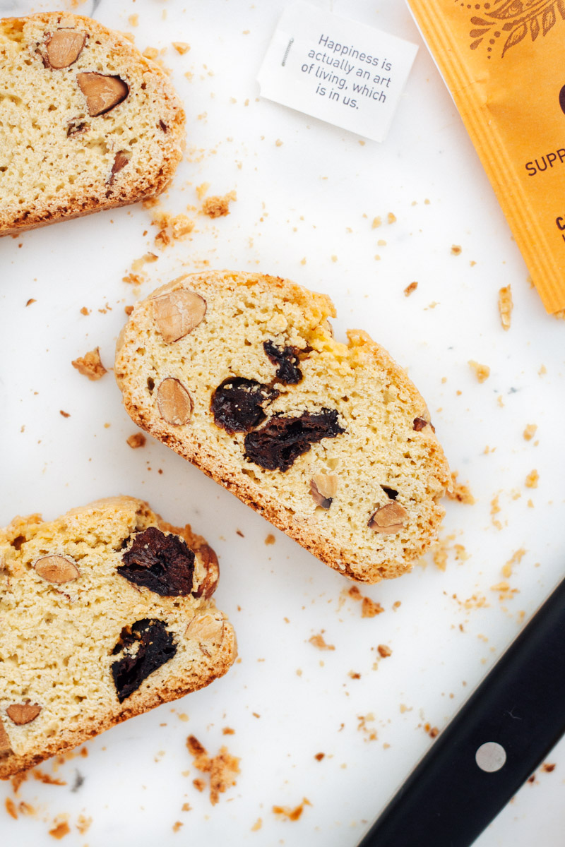 Biscotti with almonds and dried cherries
