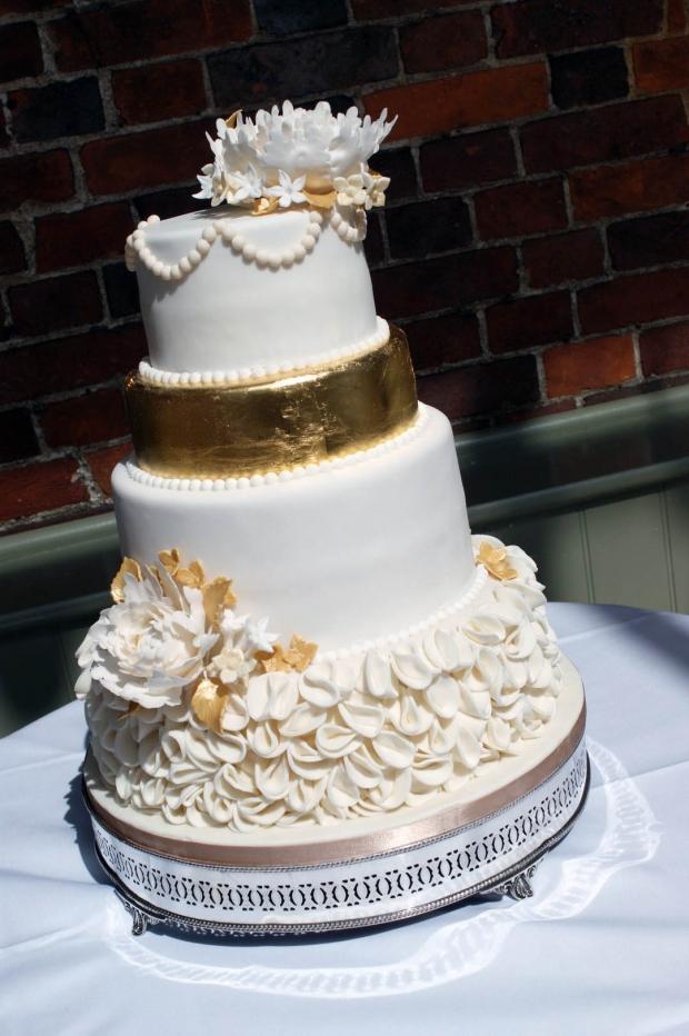 4 Tier Gold Peony Wedding Cake Bakealous
