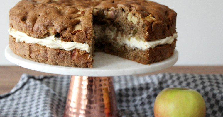 Whole grain apple cake with mascarpone icing