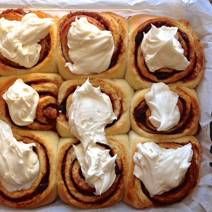 cinnamon rolls with dollops of frosting (close up)