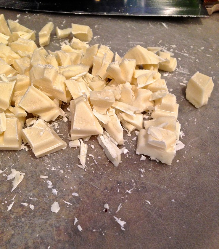 white chocolate being chopped