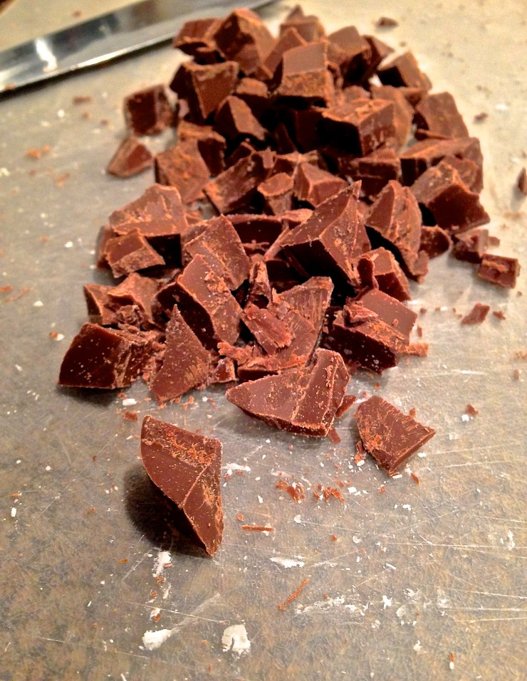 milk chocolate being chopped
