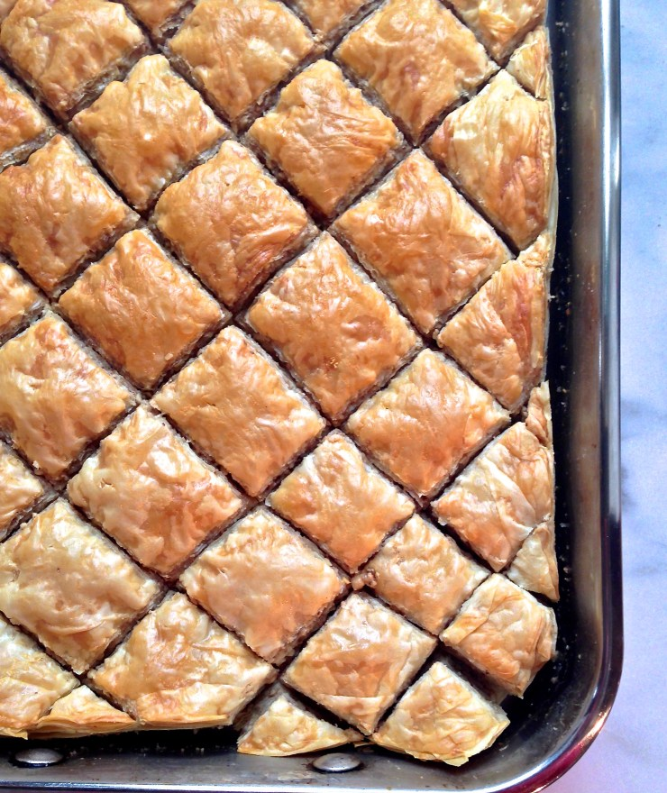 baklava fresh out of the oven (no syrup yet)