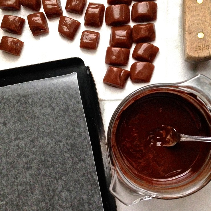 salted caramels, ready to be dipped in chocolate