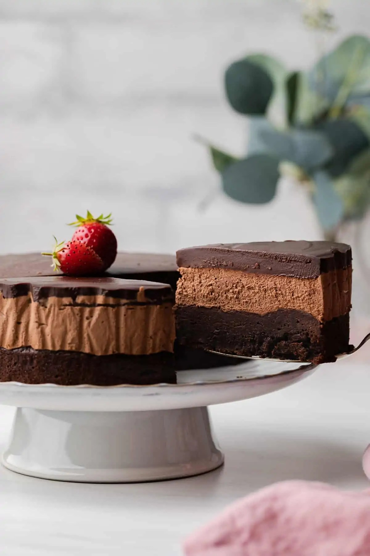 Triple Layer Chocolate Mousse Cake