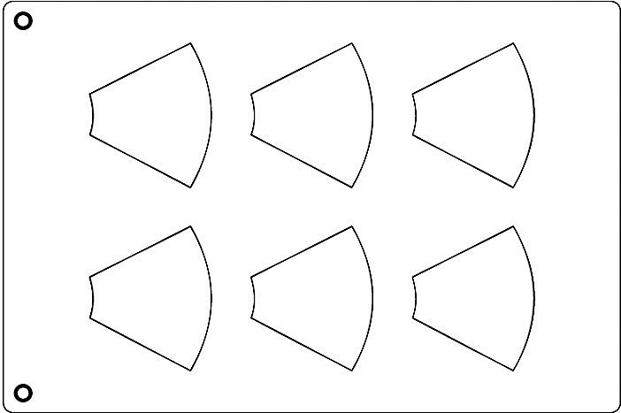 Tuile Template, Cone, 3-5/8 x 3 Each. Overall Sheet 10.5 x
