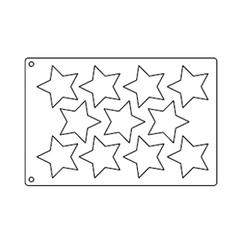 Tuile Template, 5-point Star 3-3/8; Overall Sheet 10.5 x