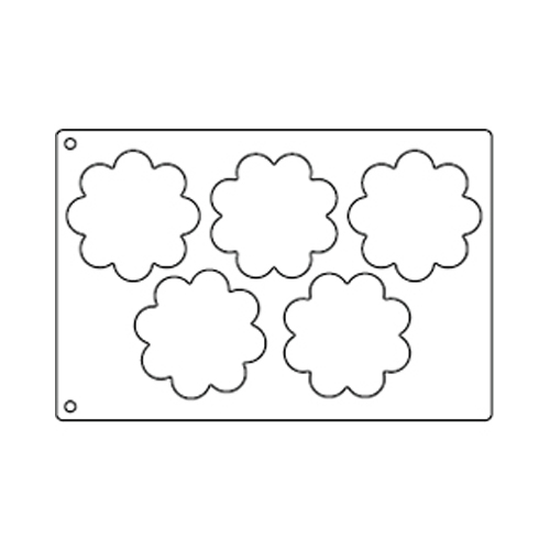 Tuile Template, Flower, 4.75 each. Overall Sheet 10.5 x 15