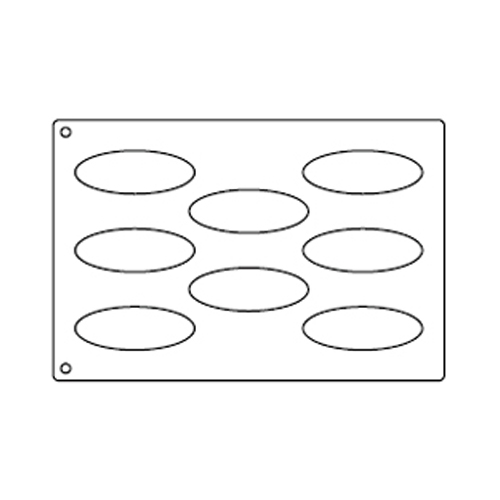 Tuile Template, Oval, 4.75 x 1.75 each. Overall Sheet 10.5