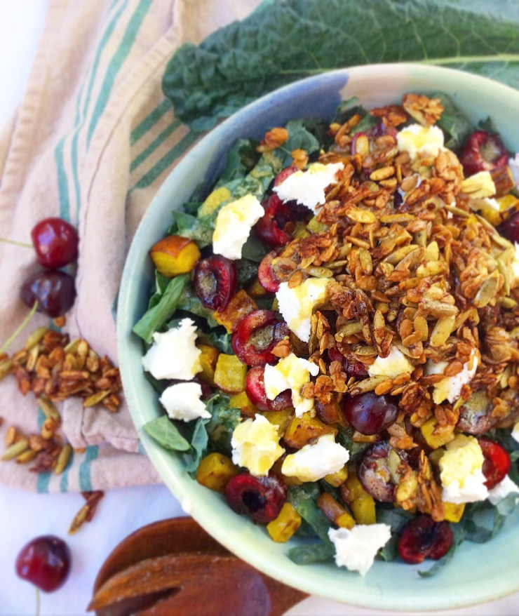 Summer Kale Salad with Spicy Granola