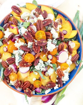 Peach, Pecan & Blue Cheese Kale Salad