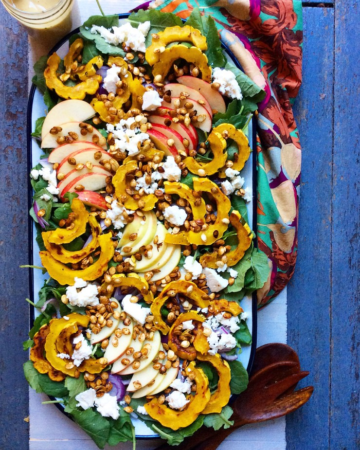 Fall Kale Salad with Roasted Delicata Squash Seeds