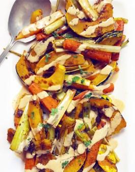 Curry Roasted Carnival Squash, Carrots & Leeks with Tahini Sauce
