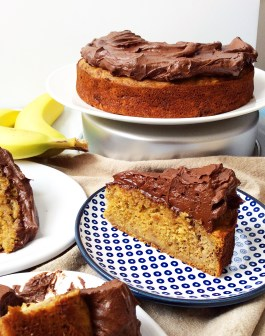Maple Olive Oil Banana Cake with Chocolate Avocado Frosting