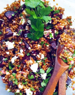 Balsamic Wheatberry Salad with Beets and Goat Cheese