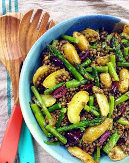 Spring Lentil Salad with Roasted Asparagus & Potatoes