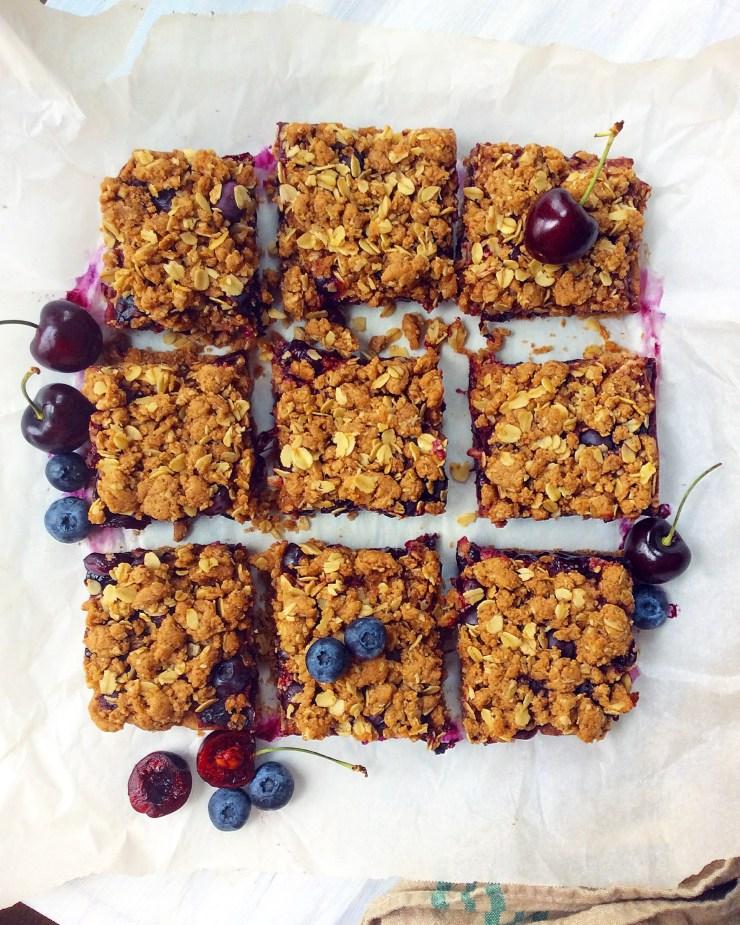 Cherry & Blueberry Crumb Bars