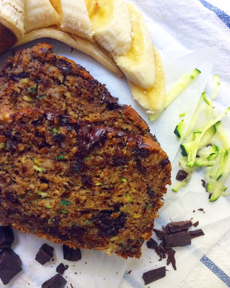 Chocolate Chunk Zucchini Banana Bread