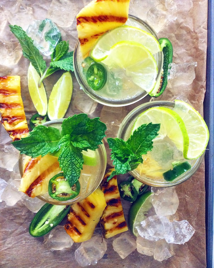 Grilled Pineapple & Jalapeno Mojitos