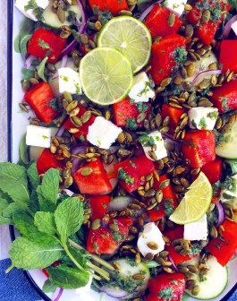 Watermelon & Feta Salad with Spicy Pumpkin Seeds