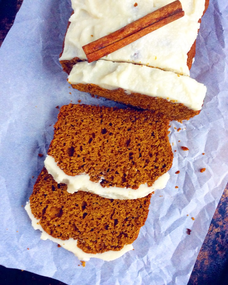 Chai Spiced Pumpkin Loaf with Coconut Butter Icing