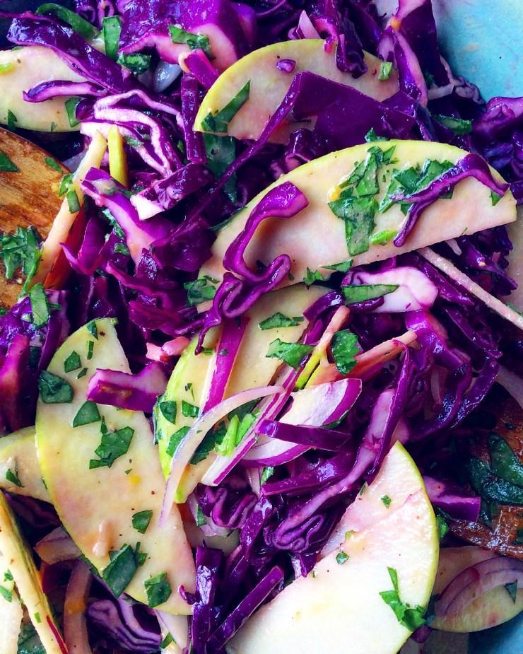 Purple Cabbage & Apple Slaw with Lemon Vinaigrette