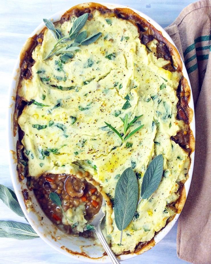 Garlicky Mushroom & Lentil Shepherd's Pie
